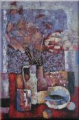 Vase of Flowers, Cup, Plate, Fruit and Pot Oil Painting Still Life Bouquet Impressionism 36 x 24 inches