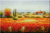 Tuscan Beauty Oil Painting Landscape Field Italy Naturalism 24 x 36 inches