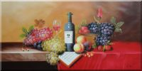 Still Life of Wine Bottle, Glass of Red Wine, Grapes, and Peaches Oil Painting Fruit Classic 24 x 48 inches