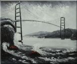 Black and White San Francisco Golden Gate Bridge Oil Painting  20 x 24 inches