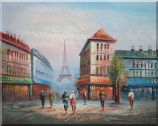A Paris Street to Eiffel Tower Oil Painting  24 x 30 inches