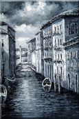 Quiet Venice Street in Black and White Oil Painting Italy Naturalism 24 x 16 inches