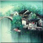 Old Southern Chinese Water Village in Blue and Green Oil Painting China Asian 24 x 24 inches