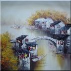 Village Along Water Canal in Autumn  Oil Painting  24 x 24 inches