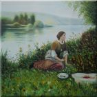 Lady Picknick in Spring Lakeside Oil Painting Portraits Woman Classic 24 x 24 inches