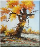 A Giant Old Golden Tree  Oil Painting  28 x 24 inches