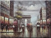Vintage Cityscape of Paris Triumphal Arch Oil Painting France Impressionism 36 x 48 inches