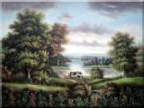 Landscape with Cattle near Lake Oil Painting River Classic 36 x 48 inches