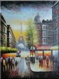 Paris Street and Eiffel Tower Scene Oil Painting Cityscape France Impressionism 48 x 36 inches