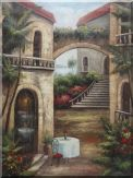 Arch Flower House Overlooking the Mediterranean Sea Oil Painting Garden Classic 48 x 36 inches