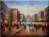 Winter Busy Paris Street to Eiffel Tower Scene Oil Painting Cityscape France Impressionism 36 x 48 inches