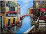 Venice Water Street and Stone Bridge Scene Oil Painting Italy Naturalism 36 x 48 inches