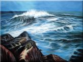 Big Sea Waves, Cliffs and Flying Birds Oil Painting Seascape America Naturalism 36 x 48 inches