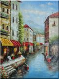 Gondola at the Cafeteria, Venice Oil Painting Italy Naturalism 48 x 36 inches