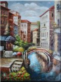 Venice Street Canal in Italy Oil Painting Naturalism 48 x 36 inches