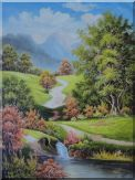 Small Trail in Beautiful Landscape Oil Painting River Naturalism 48 x 36 inches