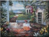 Beautiful Home Backyard and Retreat Near Waterfront Oil Painting Garden Italy Impressionism 36 x 48 inches