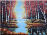 Cascade Stream Pass Through Autumn Red Forest Oil Painting Landscape Tree Naturalism 36 x 48 inches