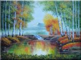Early Autumn Colorful Trees and Small Pond,Small Waterfall Oil Painting Landscape Naturalism 36 x 48 inches