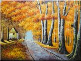Road Pass Through a Small Cottage Under Golden Forest Oil Painting Landscape Tree Autumn Naturalism 36 x 48 inches