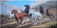 Group of Energetic Wild Horses Galloping Under Mountain Oil Painting Animal Naturalism 30 x 60 inches