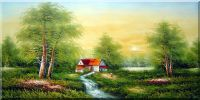 Yellow Color of Autumn Oil Painting Landscape Tree Naturalism 24 x 48 inches