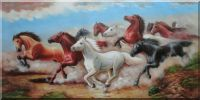 Herd of Untamable Horses Running Freely in Wild Oil Painting  30 x 60 inches