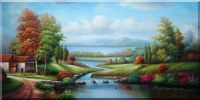 A Creek Passing By a Cottage Oil Painting Landscape River Classic 24 x 48 inches