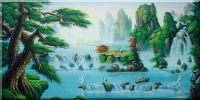 Fairland with Cranes, Pines and Waterfall Oil Painting Landscape River China Asian 24 x 48 inches