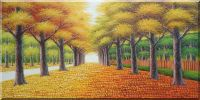 Golden Path Oil Painting Landscape Tree Autumn Naturalism 24 x 48 inches