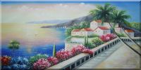 Mediterranean Beach Walkway Oil Painting Naturalism 24 x 48 inches