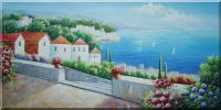 Steps Down to Mediterranean Beach Oil Painting Naturalism 24 x 48 inches