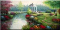 Graceful Flower Field Oil Painting Landscape River Classic 24 x 48 inches