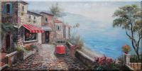 Mediterranean Stone House and Paveway With Stunning Sea View Oil Painting Naturalism 24 x 48 inches