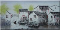 Southern Water Village and Small Boats in Spring Oil Painting China Asian 24 x 48 inches