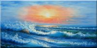 Rough Waves in the Sea at Sunset Oil Painting Seascape Naturalism 24 x 48 inches