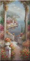 Large Mediterranean Flower Surrounding Pillars at Coast Oil Painting Naturalism 48 x 24 inches