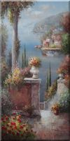 Large Beautiful Coast Pillar Flower Patio Garden in Mediterranean Oil Painting Naturalism 48 x 24 inches