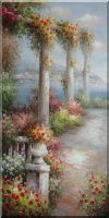 Marble Pillars with Colorful Flowers at Coast of Mediterranean Oil Painting Naturalism 48 x 24 inches