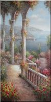 Colorful Flowered Step to Beach Large Mediterranean Painting Oil Naturalism 48 x 24 inches