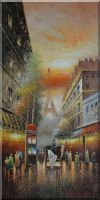 Paris Horse Carriage from Effie Tower Oil Painting Cityscape France Impressionism 48 x 24 inches