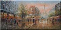 Large Paris Street Toward to Eiffel Tower Cityscape Oil Painting  24 x 48 inches