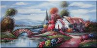 Large Rural House in Colorful Flowers along Riverside and Stone Bridge Oil Painting Village Landscape Classic 24 x 48 inches