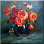 Still-life of Romantic Red Roses in Vase with Glass of Wine Oil Painting Flower Bouquet Naturalism 30 x 30 inches