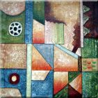 Large Colorful Geometric Composition Oil Painting  36 x 36 inches