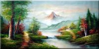 Scenic View of Quiet Lake Area Oil Painting Landscape River Naturalism 36 x 72 inches
