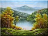A River in Golden Autumn Scenery Oil Painting Landscape Naturalism 30 x 40 inches