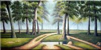Large Painting of Woodland Path Oil Landscape Tree Naturalism 36 x 72 inches