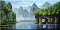 Elephant Trunk Hill of Guilin Scenery Oil Painting Landscape River China Asian 36 x 72 inches