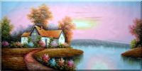 Summer Cottage Landscape large Painting Oil Village Naturalism 36 x 72 inches